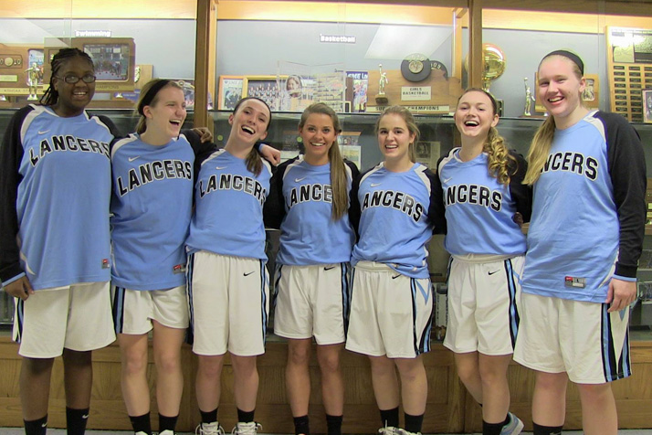 SM East's senior girls celebrated their final home game of 2014. Photo via SME Lancer Fans Facebook page.