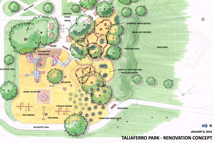 An overhead rendering of the Taliaferro Park proposal.