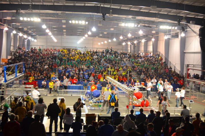 The fieldhouse was packed Saturday for the 58-team robotics competition.