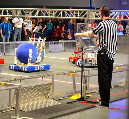 The SM East robot (2335) in action Saturday.