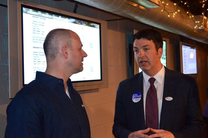Dave Shepard taked with supporters Tuesday night as results came in.