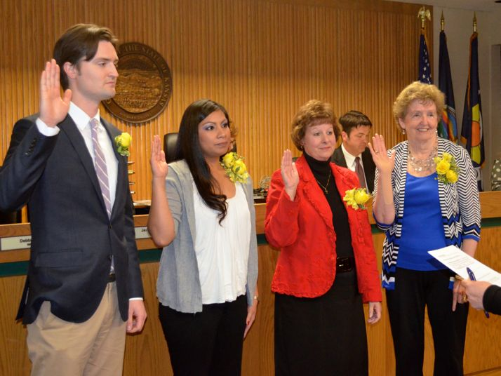 Steven Lucas, Arcie Rothrock, Debbie Kring and Suzie Gibbs were sworn into office for four-year terms on the Mission City Council.