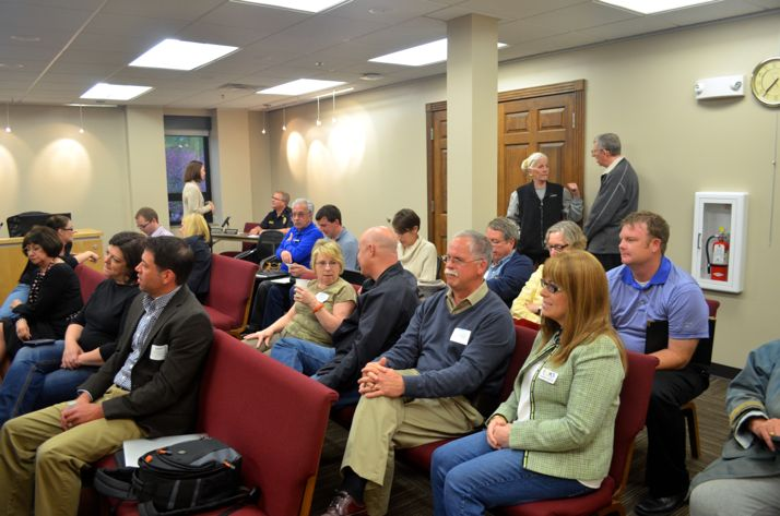 Members of the audience waited for the Roeland Park City Council to return from a 45-minute executive session.