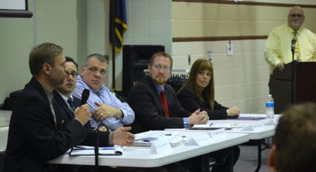Mayor Joel Marquardt responds to a question. The panel included (L-R) Marquardt, Todd LaSalla, Carl Edwards, Robert Nolan and Sandra Meade.