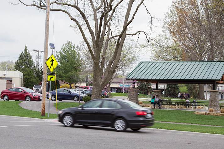 A large tree blocks the sightline to the crosswalk for cars approaching from the south.