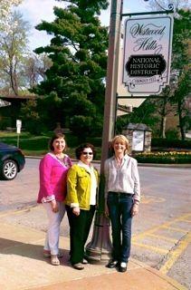 Westwood Hills Historic Foundation president, Karen Shelor Sexton (L); Westwood Hills Mayor Paula Schwach; andMartha Lally, Westwood Hills Historic Foundation, historic sign design chair.