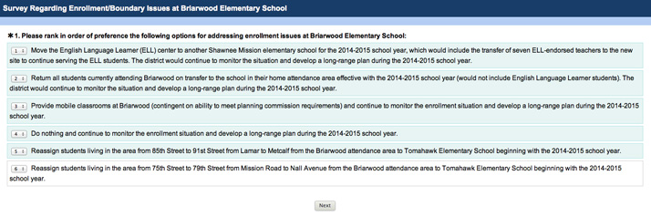 A screenshot of the survey sent to Briarwood families.