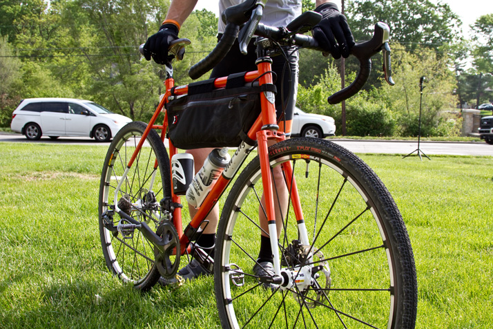 """Horn built his bike for the Dirty Kanza by himself, pairing a steel frame with custom components. """"You've got to figure out a lot of things to stay comfortable over 200 miles on gravel,"""" he said."""