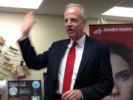U.S. Sen. Jerry Moran visited the Northeast Johnson County Chamber of Commerce Tuesday.