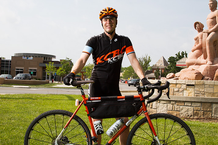 """Mark Horn has been spending 12 to 14 hours a week on his bike in preparation for the Dirty Kanza May 31. """"A lot of it's physical, but a lot of it's mental, too. You've got to be comfortable with yourself and your thoughts for 12, 14, 16 hours at a time,"""" he said."""