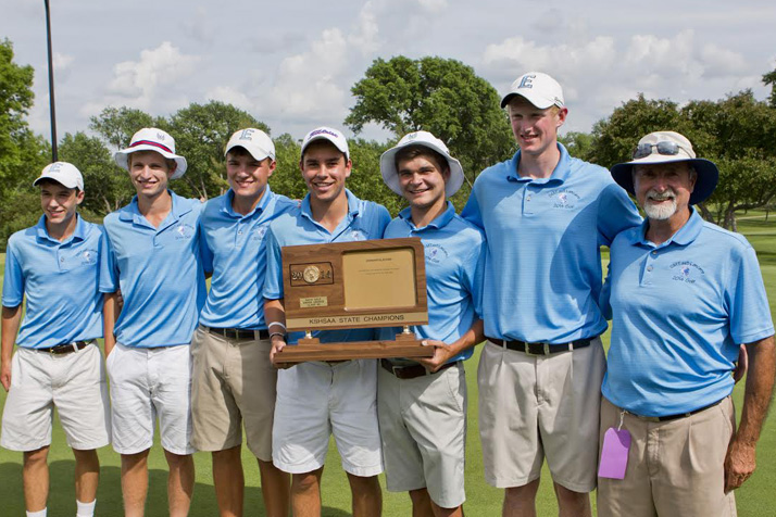 The SM East boys golf team celebrating with their state title in Topeka Tuesday. Photo courtesy Danielle Norton.