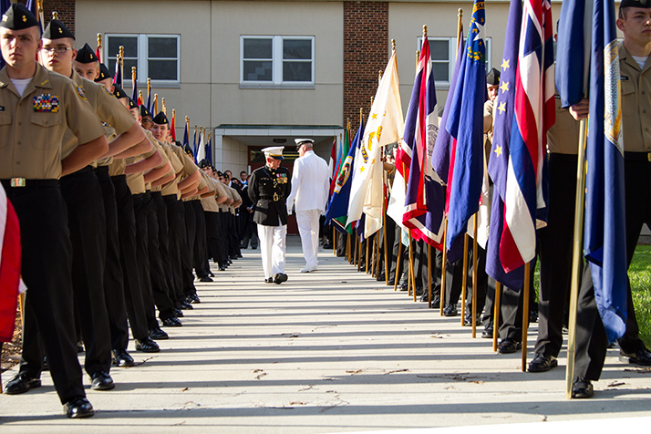 Members of the SM North ROTC got a last inspection before presenting the colors on the field Tuesday.