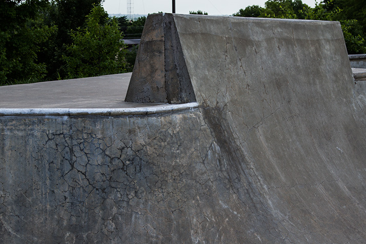 Cracks in the concrete at the Prairie Village skate park are consistent with the alkali-silica reaction.