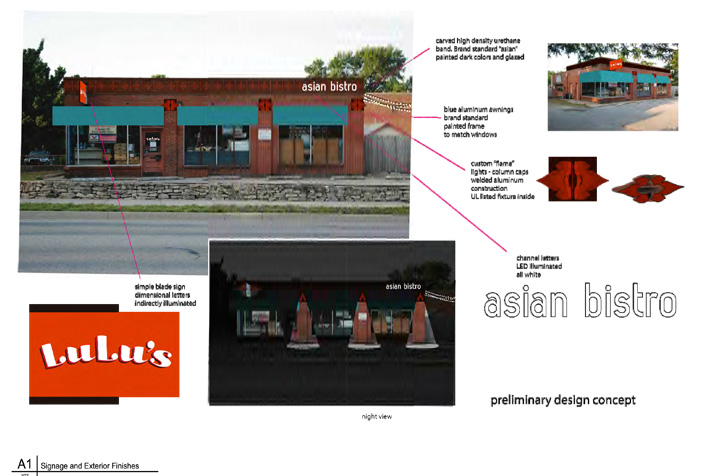 A rendering of the early design plans for Lulu's in Westwood.