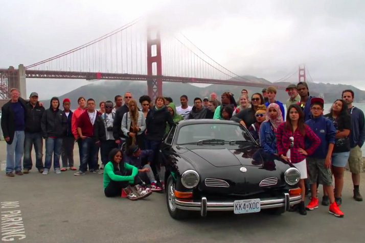 The MINDDRIVE crew with their electric Ghia in front of the Golden Gate Bridge. Photo courtesy Andrew Treas.