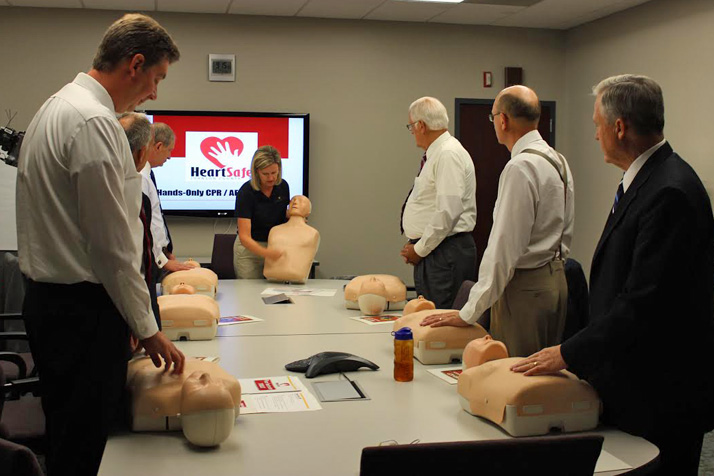 Members of the Board of County Commissioners learned hands-only CPR.