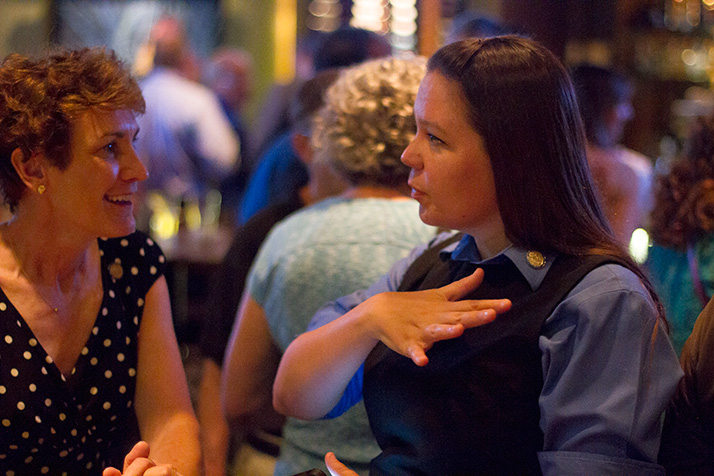 Barbara Bollier (left) and Stephanie Clayton celebrated with other moderate Republicans at Tavern in the Village Tuesday night.