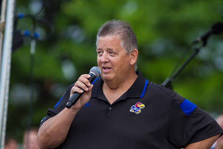 """Charlie Weis told the crowd his team """"expects to play in December."""""""