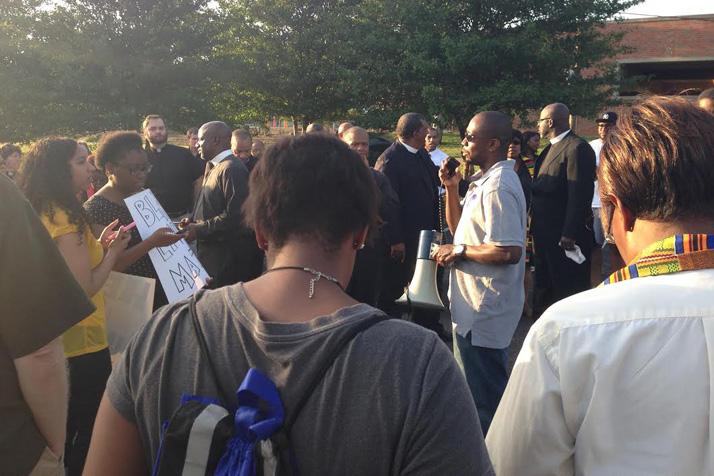 Aaron Roberts' photo of Damon Daniel organizing a rally in Ferguson.