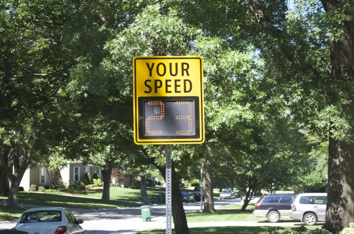This flashing speed sign not only lets drivers know if they are speeding, it captures the data as well.