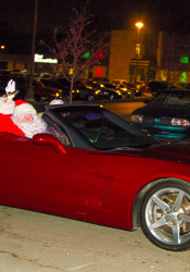 Santa likes to arrive in style to the Corinth lighting festivities.