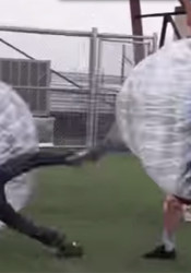 Bubble soccer is just that: soccer played while encased in a bubble - with some hilarious results.