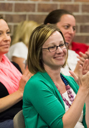 Katie Siengsukon and supporters applauded after the Prairie Village City Council voted 6-5 to make the pedestrian safety project a priority for 2016.