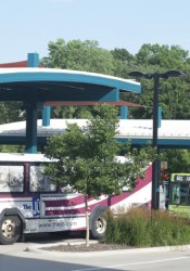 Evening bus service at the Mission Transit Center between Johnson Drive and Martway this week.