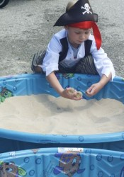 Connor was one of the young pirates digging for treasure in Arrr Park Saturday morning.
