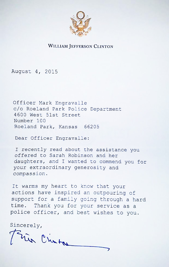 Bill Clinton Writes Letter Thanking Roeland Park Police Officer For