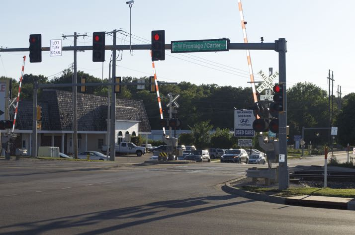 The crossing at 67th and Carter will be one of the three Merriam crossings affected by the switch in warning systems.