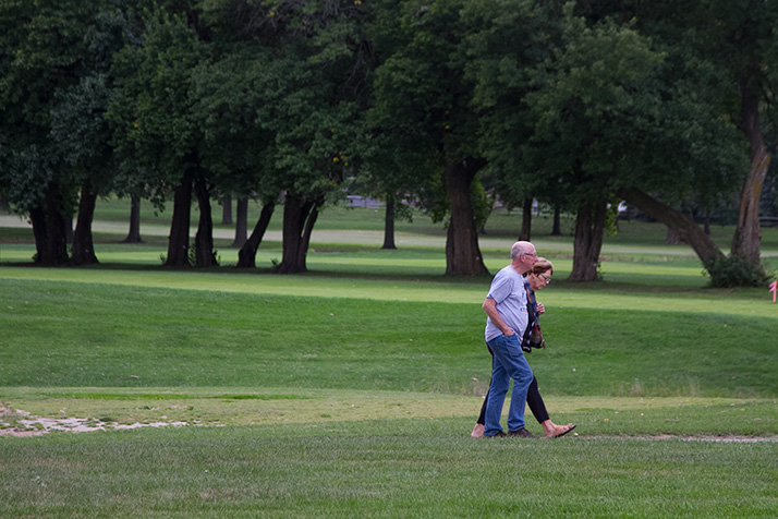 A couple explored the future potential park grounds on foot Monday.