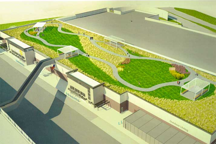 A rendering of Valenti's proposed green roof on the Walmart.