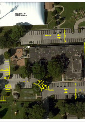 The yellow markings show the proposed changes at the Roeland Park Community Center that would allow two-way traffic and increase parking area.