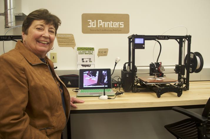 Nancy Hupp, NEJC's representative on the Johnson County Library Board, in the new MakerSpace Thursday evening.