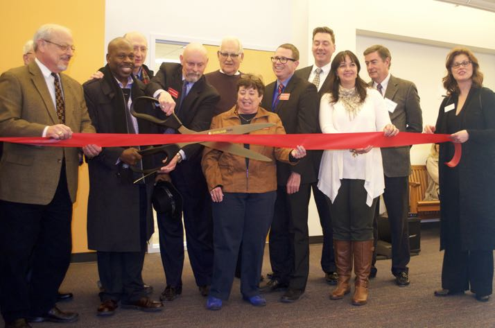 Board members and elected officials gathered for the ribbon-cutting Thursday evening.