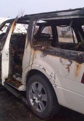 This truck was destroyed by fire in the Roeland Park Lowe's parking lot.