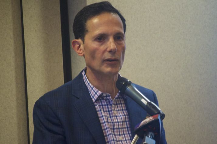Developer Tom Valenti at a community meeting earlier this year.