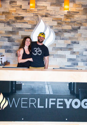 Stephanie and Adam Geneser were down from Des Moines this week getting their new Corinth Square PowerLife Yoga studio set up.