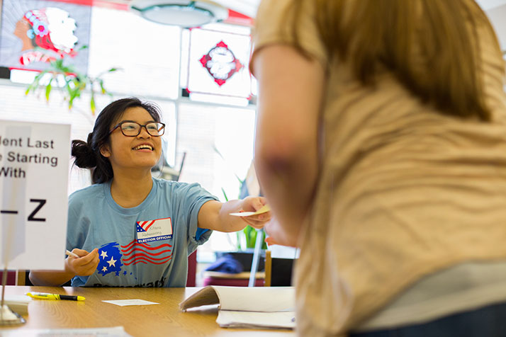 SM North students ran the council election as volunteers, learning about how to man the Johnson County polls in the process.