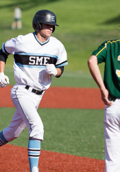 Luke Anderson circled the bases at SM East after hitting his grand slam against SM South on Tuesday.