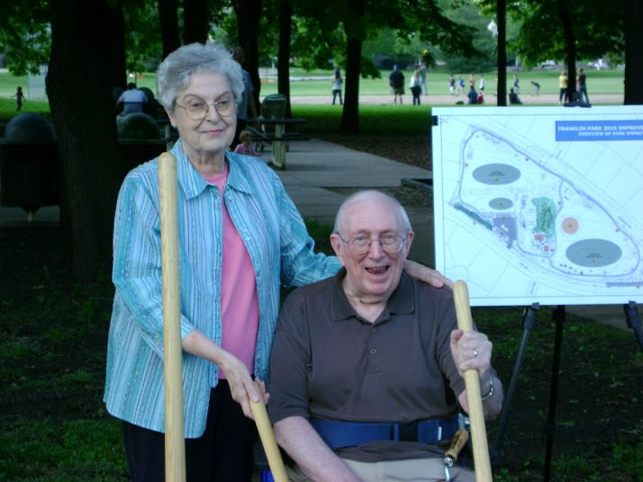 William Franklin and his wife, Margaret, at the groundbreaking for the Franklin Park improvements in May 2010.