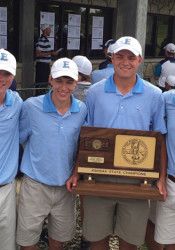 SM East's boys golf team shows of the 2016 State 6A trophy. Photo via SME Athletics on Twitter.