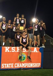 SM North's boys track team celebrate with their state title in Wichita Saturday. Photo courtesy Lisa Ryan.