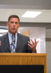 Superintendent Jim Hinson lent Shawnee Mission's support to a bill opposed by some House representatives from the area.