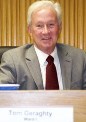 Tom Geraghty took his seat as a member of the Mission City Council Wednesday.
