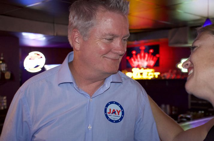 Jay Sidie accepted congratulations Tuesday night for winning the Democratic primary.