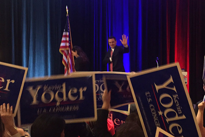 Yoder addresses Republicans at the Overland Park Marriott Tuesday. Photo via Yoder campaign Facebook.