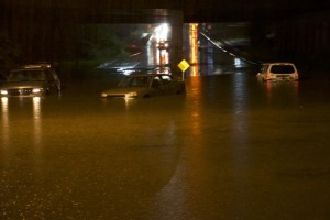 Cars stranded Friday night under Shawnee Mission Parkway at Roe Avenue.