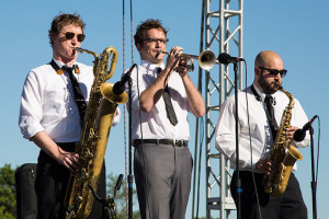 The horn section from Chris Hazelton's Boogaloo 7 performing at the 2016 event.